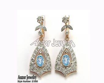 14k Rose Gold Diamond Aquamarine Russian Drop Earrings E1060