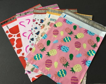 25  10x13 VALENTINE and EASTER Assortment Hearts Rabbits Pineapple Designer Poly Mailers 5 each Envelopes Shipping Bags Spring
