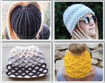 Bun Beanie Pattern, Crochet Pattern, Messy Bun Hat, Crochet, Patterns, Sale, Hat Pattern, PDF Patterns, Ponytail Hat Pattern, Bun Touque