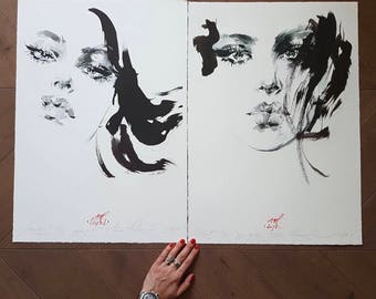 "Two original  illustrations, signed by Anna Halarewicz. Giclee print. 1/50 ""Portraits"""