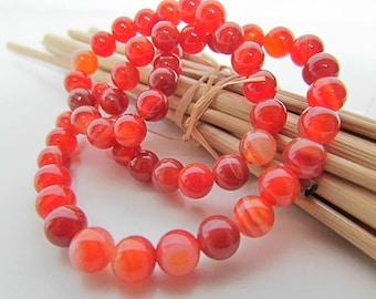 Agate onyx, red agate bead Orange stripe, 10 mm, 8 mm, 6 mm, 4 mm oval 8 x 7 mm - 458