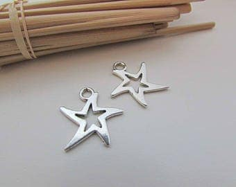 Star 10 charm 20 mm x 18 mm Sterling Silver - 3 mm hole - 424.22