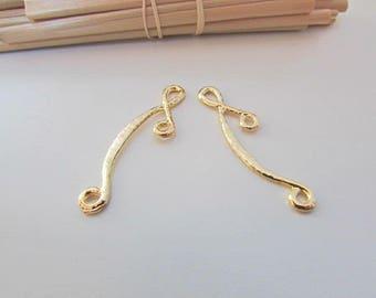 4 4cm long gold colored metal silver connectors