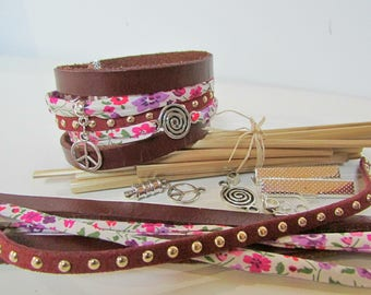 Red Brown Cuff Bracelet Kit liberty leather Pearl clasp 118