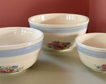 Vintage Cream and Floral Nesting Bowls