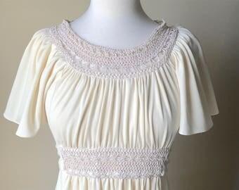 Ivory / off-white 1970s goddess maxi dress. Women's medium.