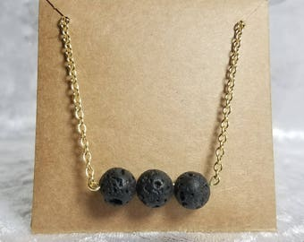 Minimal 3 Lava Stone Bar Necklace on Gold Chain / Oil Diffusing Necklace