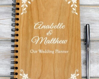 Personalised A5 Wooden Wedding Planner, Guest Book, Journal or Notebook - Floral Design