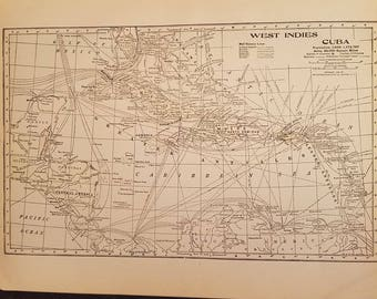 1898 Vintage Map of The West Indies and Cuba, Original 11x14 Map, Antique Color Map