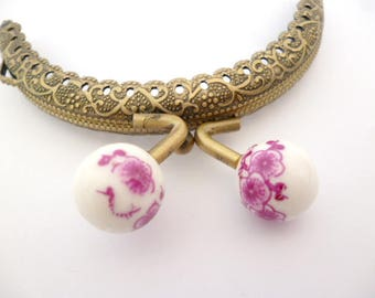 """Bronze  Purse Frame _AT031325478/0527_Frames_ Brass purse / Lilac flowers of 85 mm / 3,34"""" _ pack 1 pcs"""