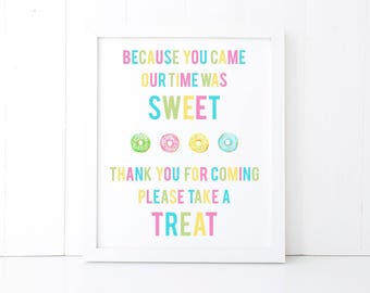 Donut Birthday Party Sign, Donut Bar Thank You Sign, Donut Party Decorations, Donut Printable, Baby Bridal Shower, Donut Print, 5x7, 8x10