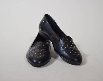 1990's  vintage black and gold studded preppy slip on flats/ loafers/oxfords women's size 7/7.5
