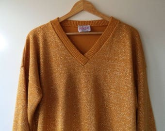 Slouchy sparkle sweater// Gold yellow metallic 80s knit holiday new years Christmas xmas pullover// Vintage Adele USA made// Women XL large