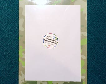 "1 New Pack of 40 Sheet Letterhead Computer Printer Paper. Green Camouflage Border, 8.5"" x 11"". Laser & Ink Jet Compatible."