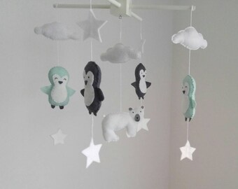 Grey and light mint penguins and polar bear baby mobile, arctic baby mobile - cute little penguin nursery mobile, baby shower gift