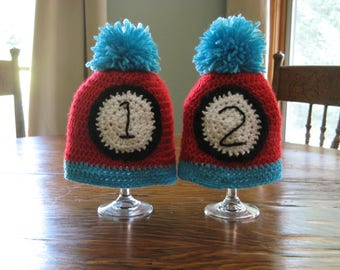 Thing 1 and Thing 2 Twin Hats, Dr. Seuss Baby Hats, Twin Baby Shower Gift