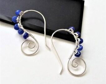 Sterling Silver Earrings, Jade Gemstone Earrings, Open Hoop Earrings, Modern Earrings, Minimalist Earrings, Bridesmaid Gift.