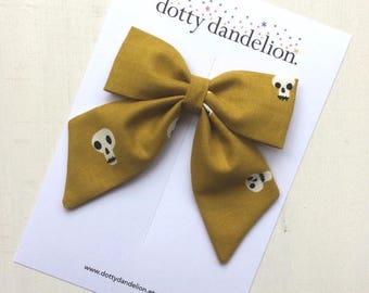 Halloween Hair Bow   Skulls Hair Bow, Mustard Hair Bows, Mustard Yellow Bow, Halloween Hair Clip, Yellow Hair Bow, Yellow Hair Clip