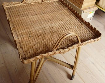 Serving rolling vintage bamboo and wicker