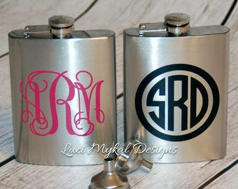 Monogrammed Flask, Personalized Flask, Sorority Gift, Wedding Gift, Stainless Steel Flask