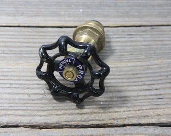 Vintage black spigot or faucet handle on its stem, Proflo aluminum handle. Garden, faucet, faucet handle, handle, spigot handle, black