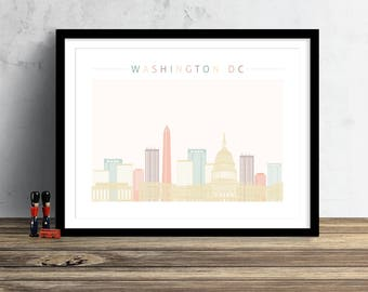 Washington DC Skyline Print, Washington Skyline, Watercolor Print, Watercolor Art, City Poster,  Cityscape, Home Decor, Gift PRINT