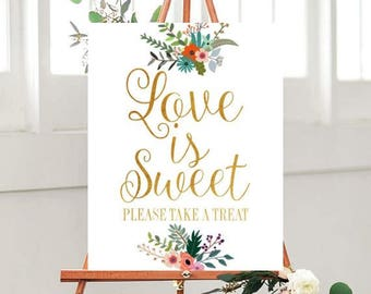 Love is Sweet Sign, Printable Wedding Sign, Dessert Table Sign, Country Wedding, Please Take A Treat Sign, INSTANT DOWNLOAD, Wedding Signage
