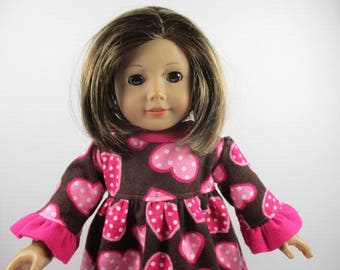"18 "" Doll Clothes for American Girl, Maplelea and Journey Girl Dolls. Cozy Flannel Nightgown With Hearts  Perfect for Valentine's Day."