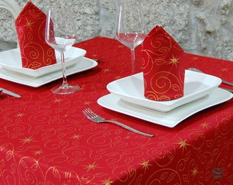Top Quality Christmas Stars Tablecloth – Anti Stain Resistant Treatment - Red