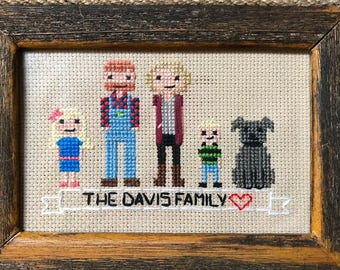 Custom Cross Stitch Family (4x6)