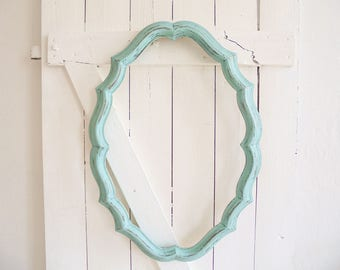 Mirror frame of old wood frame Shabby Chic turquoise mint picture frame oval