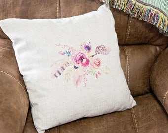 """Boho Pillow Cover - Floral and Feather Throw Pillow Case - 18"""" Square Cover - Gift for New Home - Insert NOT included"""