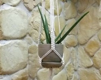 Macrame plant hanger, indoor garden, plant pot holder, hanging planter, macrame pot hanger, modern macrame, cotton rope hanger, beige holder