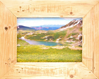 Yellowstone | Rustic Nature Art | Handmade Frame | Recycled Wood | Sheet Metal | Landscape Image | Rustic Wall Art | Canvas Photo