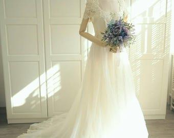 1970s handmade capesleeves wedding dress