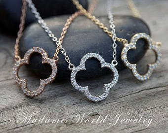 Pave Cubic Zirconia Four Leaf Clover Necklace *NEW*