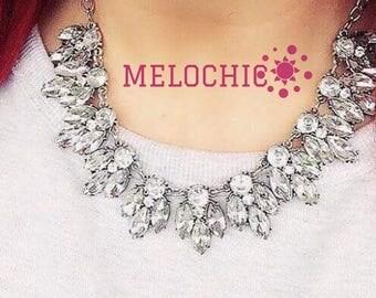 Bridesmaid Statement Necklace ,Bridal statement necklace, Wedding Necklace, Crystal Necklace, Statement Necklace, Bridal Necklace