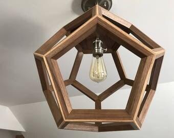 Wood light fixture / Dodecahedron / Wood Pendant Light