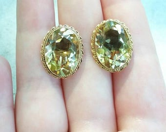 1940's HUGE handmade 14k yellow gold oval cut citrine screwback statement earrings nonpierced earrings