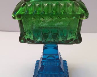 Jeanette Glass Flashed Green and Blue Footed Candy Box