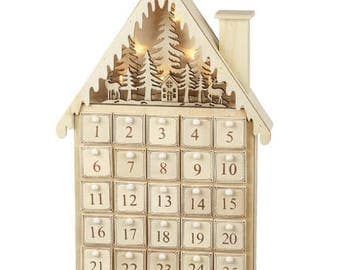 Wooden Christmas House Advent Calendar, countdown, box, naughty or nice, suitable for kids and adults December - Christmas Eve
