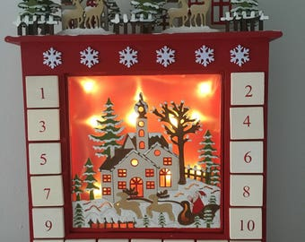Wooden Christmas Advent Calendar, countdown, box, naughty or nice, suitable for kids and adults, December - Christmas Eve Father Christmas