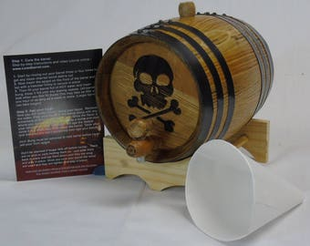 Engraved 2 Liter Charred American White Oak Aging Barrel  (Skull Cross Bones)