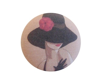 1 button x 38mm BOUT13 red flower Hat woman fabric