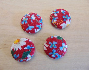 x 4 cabochons 20mm red ref TOUR7 floral fabric