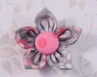 handmade flower in gray and pink fabric 4.5 cm