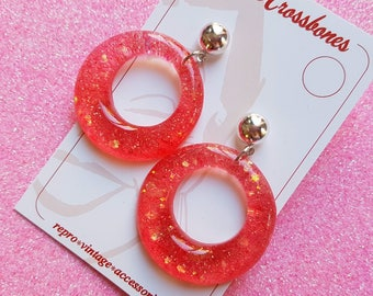 Amelia lucite confetti hoop earrings - Pink Punch