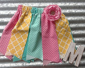 Easter birthday toddler fabric scrap skirt tutu outfit