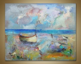 Large Abstract Art, Seascape Painting, Fishing Boats, Landscape Painting, Original Artwork, Canvas Wall Decor, Large Wall Art, Family Decor