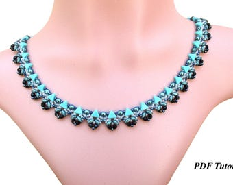 "DIY Necklace, Beading Tutorial, Necklace Pattern, Bead Tutorial, Kheops Pattern, Beadwoven Necklace, PDF Tutorial, ""Delicacy"" Necklace"